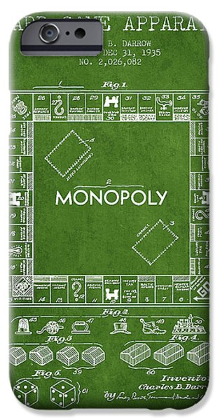 Board Digital Art iPhone Cases - Monopoly Patent from 1935 - Green iPhone Case by Aged Pixel