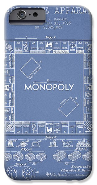 Board Digital Art iPhone Cases - Monopoly Patent from 1935 - Light Blue iPhone Case by Aged Pixel