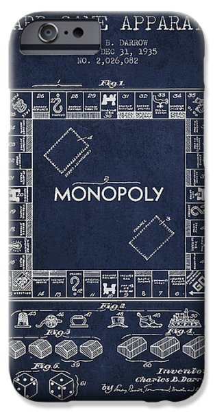 Board Digital Art iPhone Cases - Monopoly Patent from 1935 - Navy Blue iPhone Case by Aged Pixel