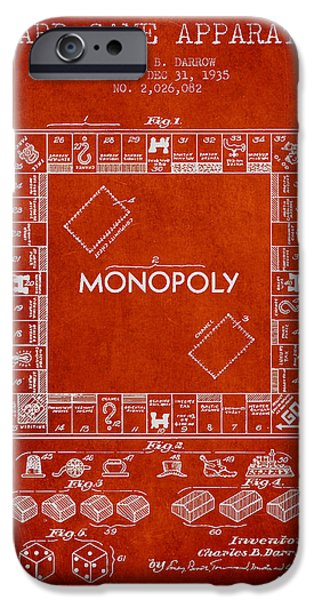 Monopoly iPhone Cases - Monopoly Patent from 1935 - Red iPhone Case by Aged Pixel