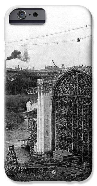 MONROE ST BRIDGE CONSTRUCTION 1910 iPhone Case by Daniel Hagerman