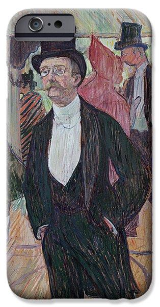Evening Pastels iPhone Cases - Monsieur Fourcade iPhone Case by Henri de Toulouse-Lautrec