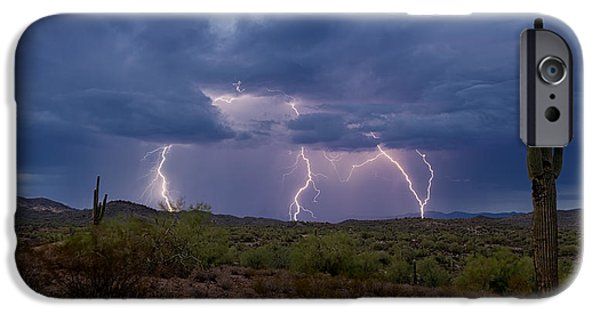 Natural Forces iPhone Cases - Monsoon Madness Strikes  iPhone Case by Saija  Lehtonen