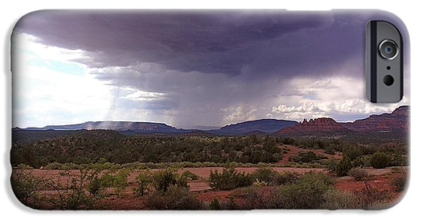 Sedona Pyrography iPhone Cases - Monsoon Visitation iPhone Case by Sin D Piantek