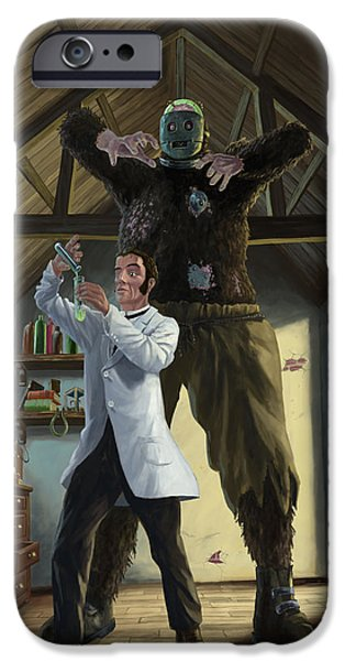 At Work iPhone Cases - Monster In Victorian Science Laboratory iPhone Case by Martin Davey