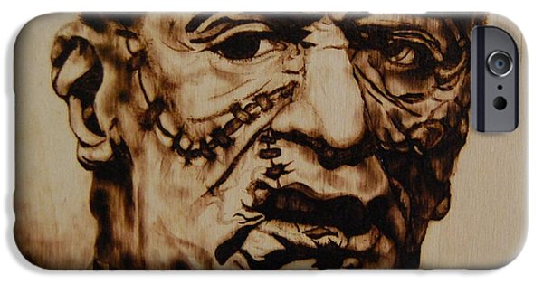 Robert De Niro Pyrography iPhone Cases - Monster iPhone Case by Invictus IA