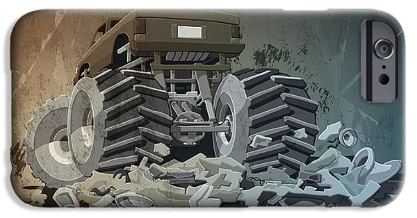 Cartoon iPhone Cases - Monster Truck Grunge iPhone Case by Frank Ramspott