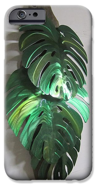 Shape Sculptures iPhone Cases - Monstera leaves on driftwood Metal sculpture iPhone Case by Robert Blackwell