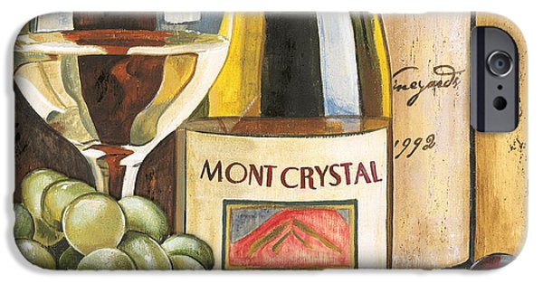 Wine Glasses Paintings iPhone Cases - Mont Crystal 1988 iPhone Case by Debbie DeWitt