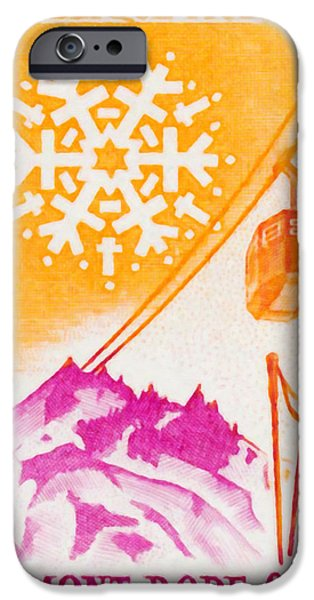 Skiing Posters Paintings iPhone Cases - Mont Dore iPhone Case by Lanjee Chee