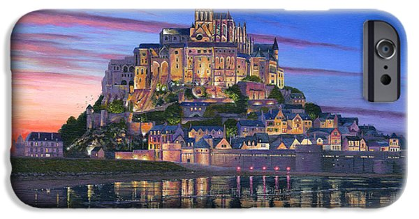 Sectioned iPhone Cases - Mont Saint-Michel Soir iPhone Case by Richard Harpum