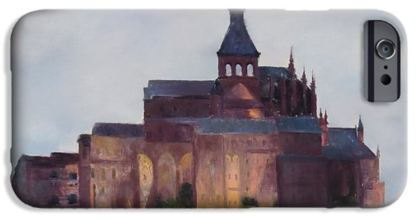 Cathedral Rock Pastels iPhone Cases - Mont Saint Michel iPhone Case by Stacey David