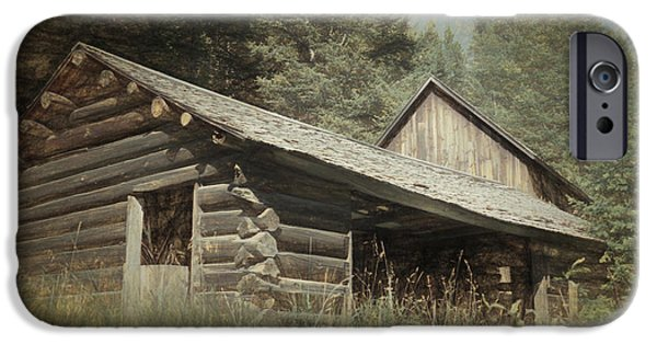 Log Cabin Mixed Media iPhone Cases - Montana Cabin iPhone Case by Richard Rizzo