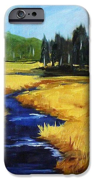 Park Scene Paintings iPhone Cases - Montana Creek iPhone Case by Nancy Merkle