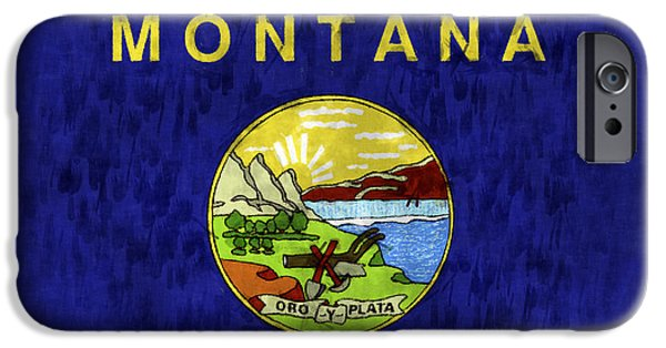 Montana Digital iPhone Cases - Montana Flag iPhone Case by World Art Prints And Designs