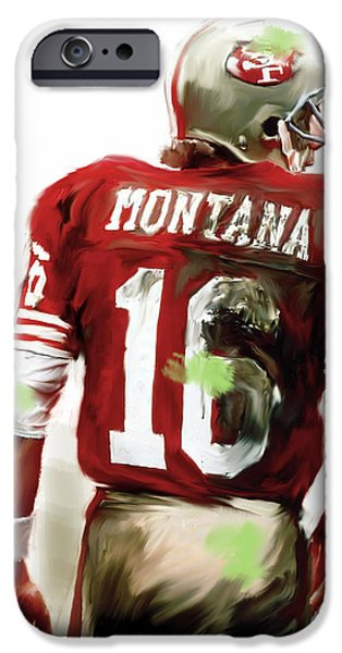 Fame iPhone Cases - Montana  Joe Montana iPhone Case by Iconic Images Art Gallery David Pucciarelli
