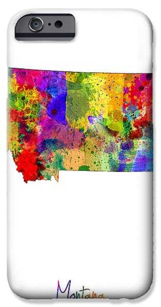 Montana State Map iPhone Cases - Montana Map iPhone Case by Michael Tompsett
