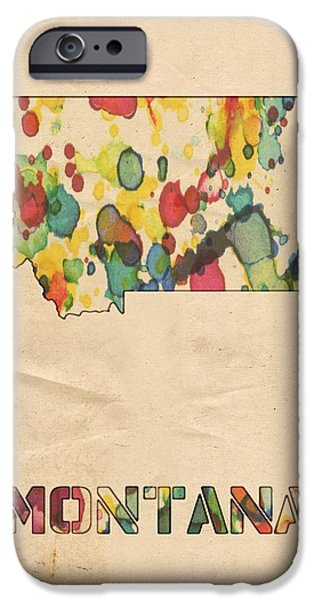 Montana Digital iPhone Cases - Montana Map Vintage Watercolor iPhone Case by Florian Rodarte