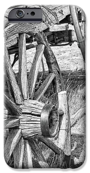Monotone iPhone Cases - Montana Old Wagon Wheels Monochrome iPhone Case by Jennie Marie Schell