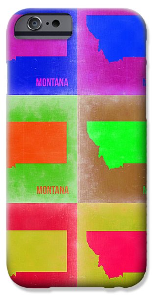Miami Digital Art iPhone Cases - Montana Pop Art Map 2 iPhone Case by Naxart Studio