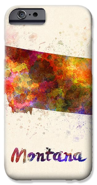 Montana State Map iPhone Cases - Montana US state in watercolor iPhone Case by Pablo Romero