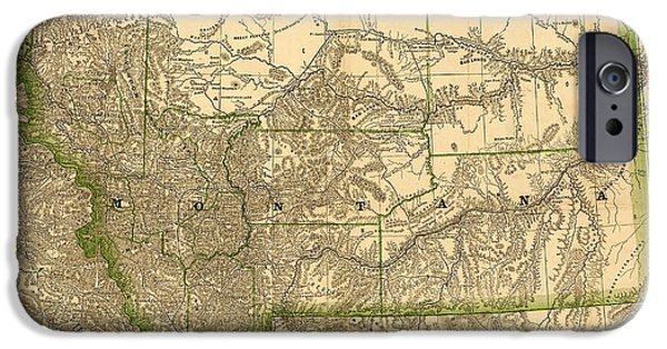 Montana State Map iPhone Cases - Montana Vintage Antique Map iPhone Case by World Art Prints And Designs