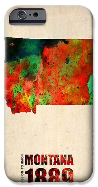 City Mixed Media iPhone Cases - Montana Watercolor Map iPhone Case by Naxart Studio