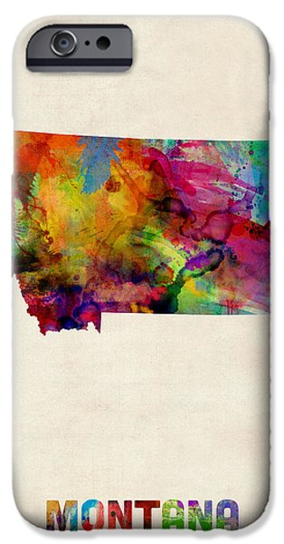Montana State Map iPhone Cases - Montana Watercolor Map iPhone Case by Michael Tompsett