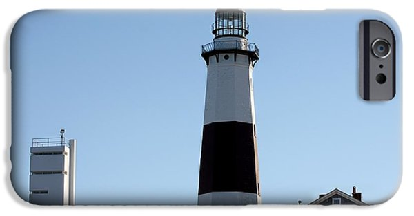Buildings By The Ocean iPhone Cases - Montauk Lighthouse As Seen From the Beach iPhone Case by John Telfer