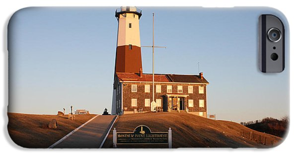 Sign iPhone Cases - Montauk Lighthouse Entrance iPhone Case by John Telfer