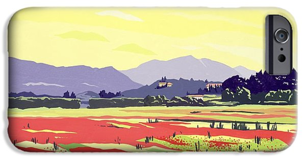 Tuscan Landscapes iPhone Cases - Monte San Quirico, Lucca, 2003 Gouache On Paper iPhone Case by Derek Crow