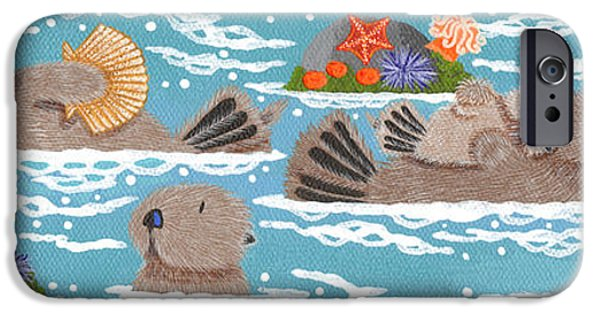 Sea iPhone Cases - Monterey Otters V iPhone Case by Merry  Kohn Buvia