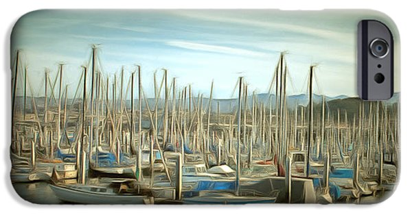 Tall Ship iPhone Cases - Monterey Pleasure Boat Harbor iPhone Case by Barbara Snyder