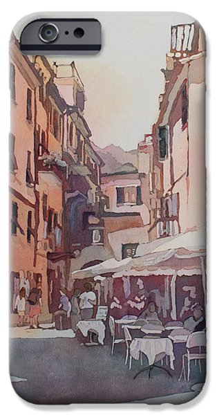 Terra Paintings iPhone Cases - Monterosso Cafe iPhone Case by Jenny Armitage