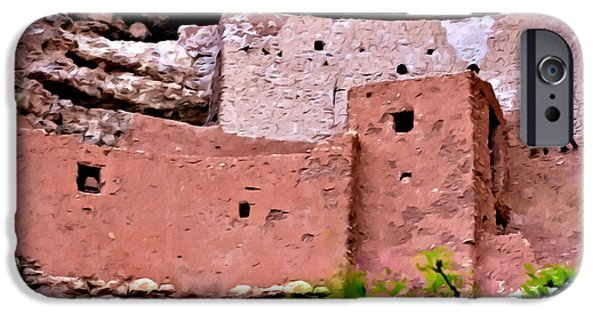 Overhang Digital iPhone Cases - Montezuma Castle  iPhone Case by  Bob and Nadine Johnston