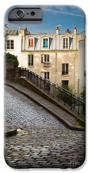Alley iPhone Cases - Montmartre Alley iPhone Case by Inge Johnsson