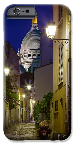 Night Lamp iPhone Cases - Montmartre Street and Sacre Coeur iPhone Case by Inge Johnsson