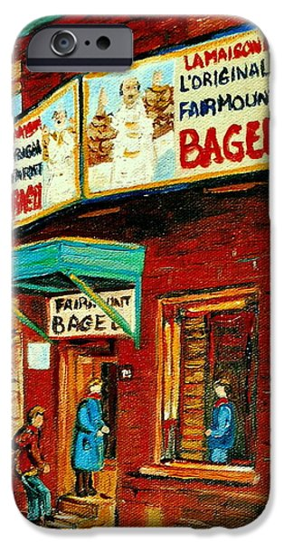 Montreal Storefronts Paintings iPhone Cases - Montreal Bagel Factory Famous Brick Building On Fairmount Street Vintage Paintings Of Montreal  iPhone Case by Carole Spandau