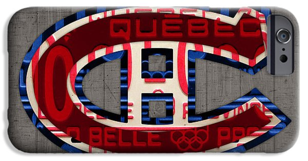 Montreal Canadiens iPhone Cases - Montreal Canadiens Hockey Team Retro Logo Vintage Recycled Quebec Canada License Plate Art iPhone Case by Design Turnpike