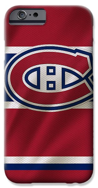 Arena iPhone Cases - Montreal Canadiens Uniform iPhone Case by Joe Hamilton
