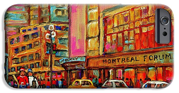 Stanley Cup Paintings iPhone Cases - Montreal Forum  Winter Scene Paintings Snowy Day Downtown Strolling Atwater C Spandau  iPhone Case by Carole Spandau