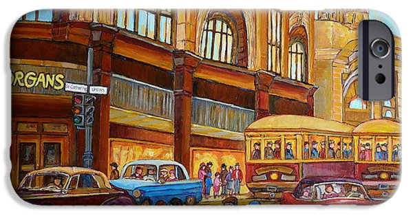 Montreal Memories. iPhone Cases - Montreal Memories-streetcars-morgans Department Store At St.catherine And Union iPhone Case by Carole Spandau