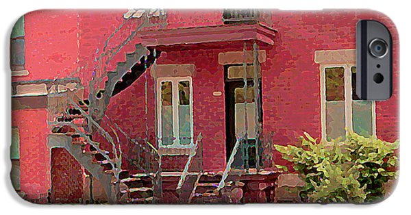 Montreal Memories. iPhone Cases - Montreal Memories The Old Neighborhood Timeless Triplex With Spiral Staircase City Scene C Spandau  iPhone Case by Carole Spandau