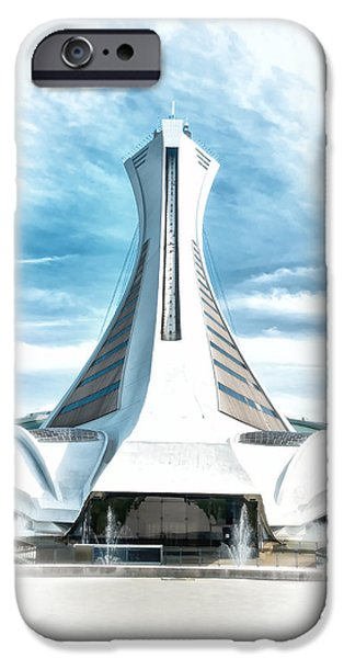 Canada Sports Paintings iPhone Cases - Olympic Stadium In Montreal iPhone Case by Boris Mordukhayev