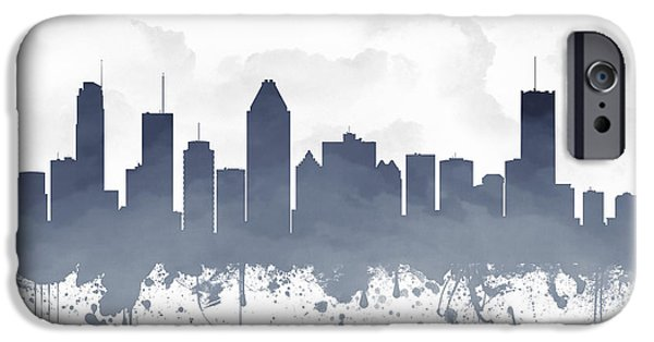 Montreal iPhone Cases - Montreal Quebec Skyline - blue 03 iPhone Case by Aged Pixel