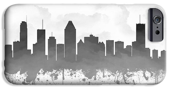 Montreal iPhone Cases - Montreal Quebec Skyline - gray 03 iPhone Case by Aged Pixel