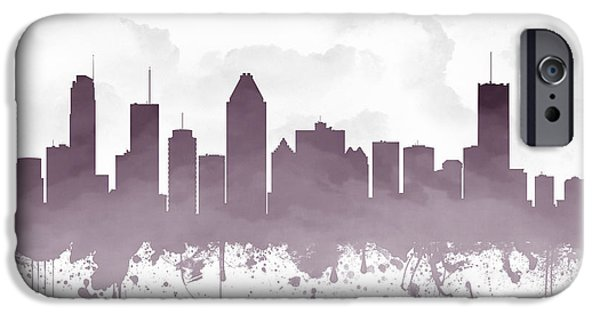 Montreal iPhone Cases - Montreal Quebec Skyline - purple 03 iPhone Case by Aged Pixel