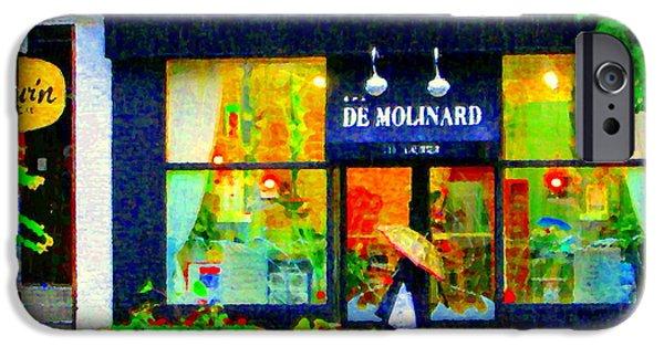 Rainy Day iPhone Cases - Montreal Rainy Day  Window Shopping Girl With Paisley Umbrella Spa Molinard Laurier  Carole Spandau iPhone Case by Carole Spandau