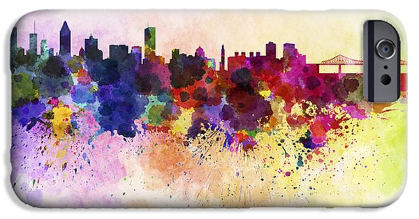 Montreal iPhone Cases - Montreal skyline in watercolor background iPhone Case by Pablo Romero