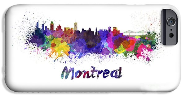 Montreal Cityscapes Paintings iPhone Cases - Montreal skyline in watercolor iPhone Case by Pablo Romero